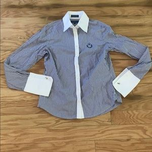 Faconnable blue striped button down shirt size xs